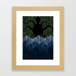 Cthulhu's sea of madness - Green Framed Art Print