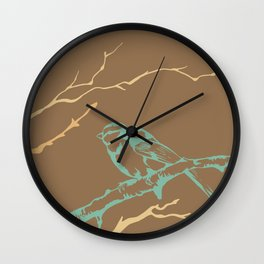 Bird on branch (brown, green, tan, yellow) illustration Wall Clock