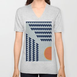 Enigmatic design with  the sun  Unisex V-Neck