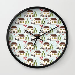 Festive Winter Snowman Village Seamless Christmas Xmas Wall Clock