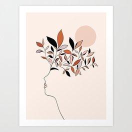 Minimal line Art botanical Portrait Art Print