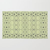 lime green Area & Throw Rugs featuring Lime Green Aztec by Pom Graphic Design