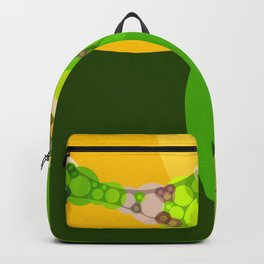 veronica - bright abstract of lime grass green and warm gold yellow Backpack