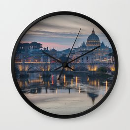 Saint Peter's Basilica at Sunset Wall Clock