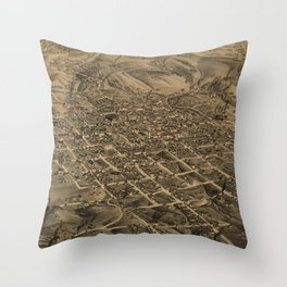 Vintage Pictorial Map of Butte Montana (1884) Throw Pillow