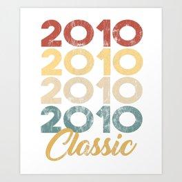 Vintage Classic 2010 Shirt 8th Birthday Party Celebration Gifts Art Print