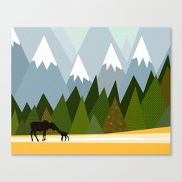 Woodland snowy mountain tops trees and mother moose and baby Canvas Print