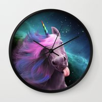 sassy Wall Clocks featuring Sassy Unicorn by Jessica LeClerc Illustration