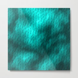 Line texture of light blue oblique dashes with a bright intersection on a luminous charcoal. Metal Print