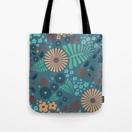 Whimsical flowers - blue and pink Tote Bag