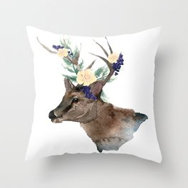 Boho Chic Deer With Flower Crown Throw Pillow