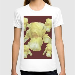 PALE YELLOW IRIS ON BURGUNDY COLOR T-shirt