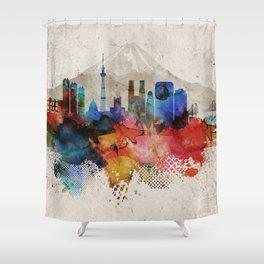 Tokyo Abstract Skyline Shower Curtain