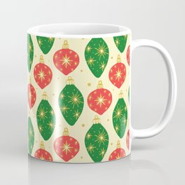 Vintage Festive Hand-painted Christmas Tree Ornaments with Beautiful Acrylic Texture, Green and Red Coffee Mug