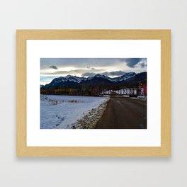CN rolling through the Rockies, Near Brule Alberta Framed Art Print
