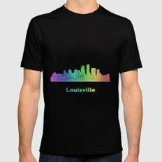Rainbow Louisville skyline MEDIUM Mens Fitted Tee Black