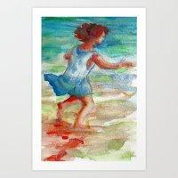 Maddy Running on the Beach Art Print