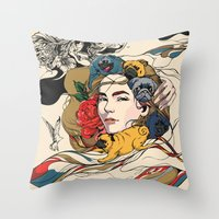 baby Throw Pillows featuring Let My Baby Stay by Huebucket