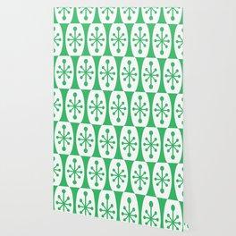 Mid Century Modern Atomic Fusion Pattern Green Wallpaper