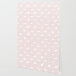 Swan pattern on pink 033 Wallpaper