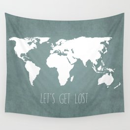 Let's Get Lost World Map Wall Tapestry