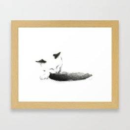 Sleepy Cat with Inky Black  Tail Framed Art Print