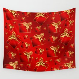 many small red gifts with golden bow on shiny dark red Wall Tapestry