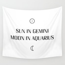 Gemini/Aquarius Sun and Moon Signs Wall Tapestry