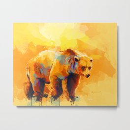Bear Dream - Colorful grizzly bear digital art Metal Print