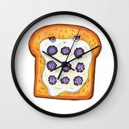 Blackberry ricotta cheese wheat toast Wall Clock