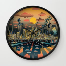 los angeles city skyline Wall Clock
