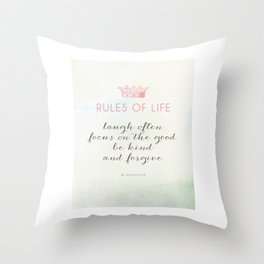 Rules of Life Throw Pillow