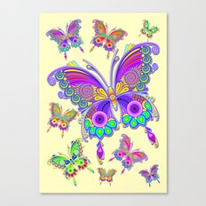 Butterfly Colorful Tattoo Style Pattern Canvas Print