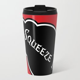 """""""Squeeze Me"""" Alice in Wonderland styled Bottle Tag Design in 'Off With His Head Red' Travel Mug"""