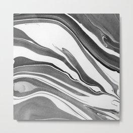 Black and White Ink Marbling 03 Metal Print
