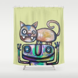 Juggler with Cat Shower Curtain