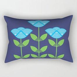 Three Japanese style blue flowers Rectangular Pillow