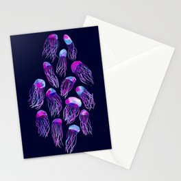 Jellyfish Bloom - dark blue Stationery Cards