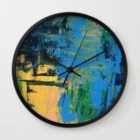 miami Wall Clocks featuring Miami by Mande Gaffney