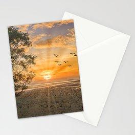 Sunrise with sunrays and flock of birds at sunrise, Phang Nga Bay, Thailand Stationery Cards