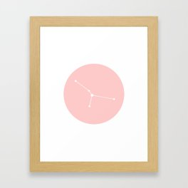 Cancer Star Sign Soft Pink Circle Framed Art Print