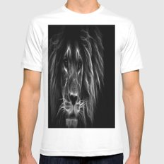 lion.  Black & White MEDIUM White Mens Fitted Tee