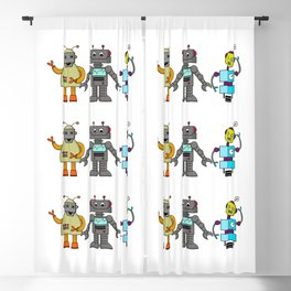 The Three Robots,  A Trio Of Retro Robots Blackout Curtain