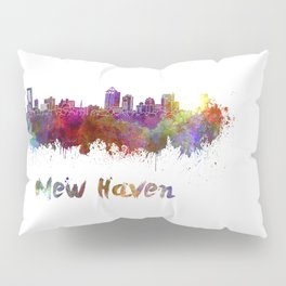 New Haven skyline in watercolor Pillow Sham