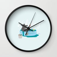 holiday Wall Clocks featuring Holiday by Maotu