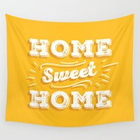 home sweet home Wall Tapestries featuring Home Sweet Home by Mankind Design
