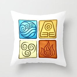 Avatar The Last Air Bender Four Elements Throw Pillow