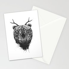 Angry bear with antlers Stationery Cards