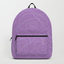 Lavender Dreams Roses - Medium with Light Outline Backpack