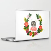 leah flores Laptop & iPad Skins featuring Scout con Flores by Leah Romero